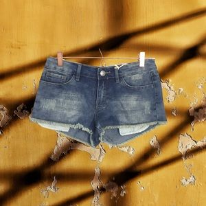 Iris distressed jean shorts with fray hem